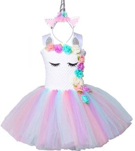 Pastel Unicorn Tutu Dress for Girls Kids Birthday Party Unicorn Costume  Outfit with Headband pompous skirts dance costumes dresses 7-8Years 9d547f053045