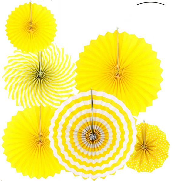Sunshine Yellow Round Hanging Paper Fans Decorations Baby Shower