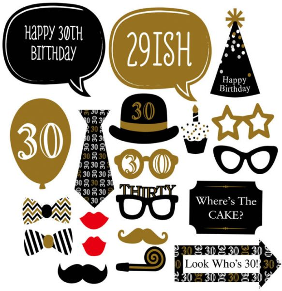 d448f0b564fe 20PCS Photo Booth Frame Happy Birthday PhotoBooth Props 30th ...