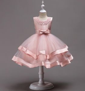 33a803c8bd3a Girls Satin Princess Dresses Little Hosts Tutu Flower Girl Wedding Dresses  Handmade Beaded Costumes Age 4-6