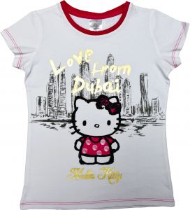 8c1d59846 Hello Kitty Girls T-shirt White Short Sleeve with Scarf - Iconic Two