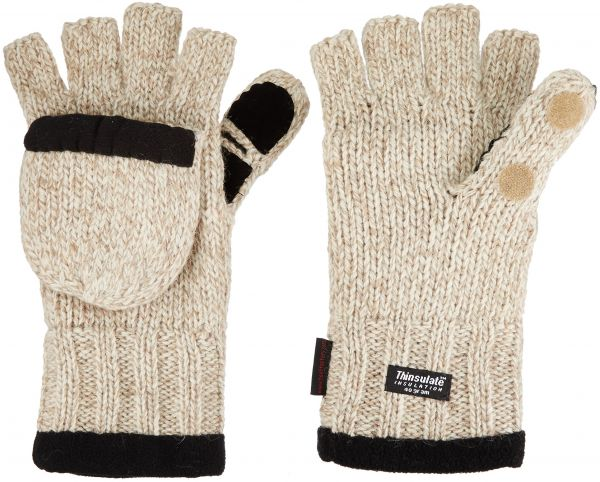 Heat Factory Fleece-Lined Ragg Wool Gloves with Fold-Back Finger Caps and  Hand Heat Warmer Pockets 8801b87751