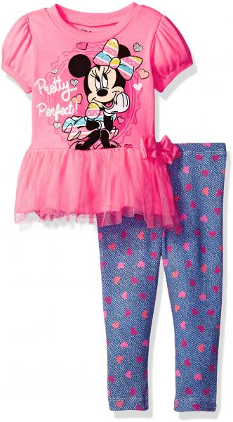 4974c9df261d5 Disney Baby Girls' Minnie Mouse Legging Set with Tulle Fashion Top ...
