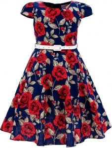 28ac28f2fa4 Bonny Billy Girls Classy Vintage Floral Swing Kids Party Dresses 10-11  Years C-Flower