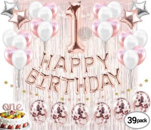 1st Birthday Decorations First Party Supplies One Cake Topper Banner Rg Confetti Balloons Curtain Backdrop Props Photos Happy Birthday Buy Online Party Supplies At Best Prices In Egypt Souq Com