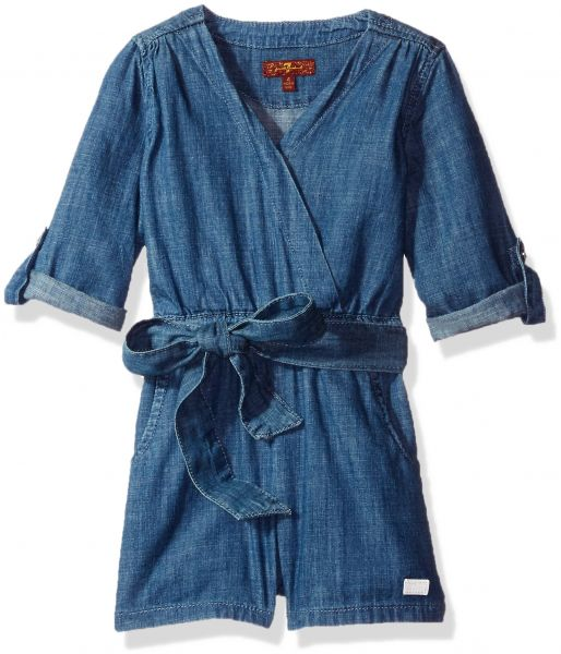 97e0f50d3 7 For All Mankind Little Girls  Long Sleeve Chambray Wrap Romper ...