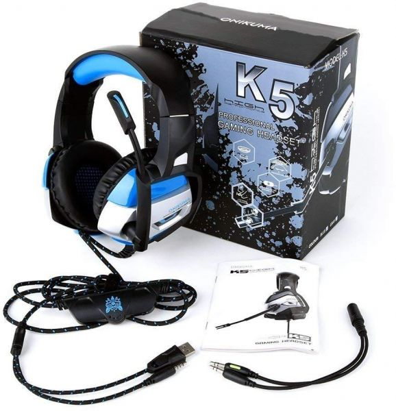Gaming Headset for PS4, Xbox One, Nintendo Switch, PC, Over Ear Gaming  Headset with Noise Canceling and Microphone, LED Lights, 7 1 Stereo  Surround