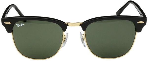 710a81d8c0621 Ray-Ban Clubmaster Black-Gold Sunglasses Green Lens RB 3016 W0365 49 ...