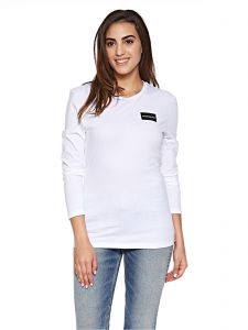 f994ae1a Calvin Klein Jeans Institutional Box Logo Long Sleeve Tee for Women -  Bright White
