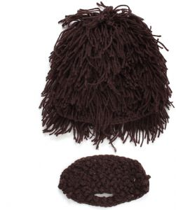 5a575b84c44 Unique Wigs Fake Beard Style Warm Hat Exaggerated Wild Knitting Cap Wool Cap  Unisex for Kids mm