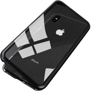 Apple iPhone XS Max cover case, magnet with aluminium metal housing bumper case crystal clear 9H tempered glass back case, black