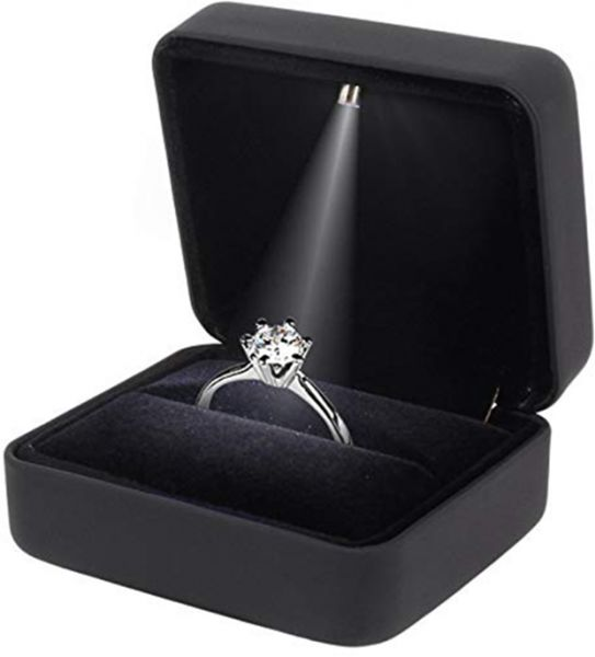 Rubber Engagement Ring Led Light Jewelry Gift Box Black Souq Uae