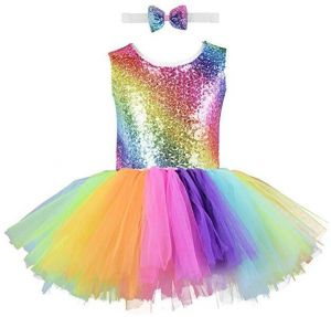 f3378816 Unicorn Girl Sequin Dress Handmade Toddler Rainbow Dress for Party,  Halloween, Special Occasion with Bow Tie for Girls   Souq - UAE