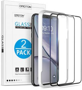 ... iPhone XS Max Full Coverage Tempered Glass Screen Protector with [Easy Install Tool] [9H Hardness][Anti-Scratching][Anti-Bubbles][3D Round Edge ]-Black