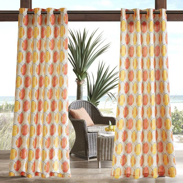 Madison Park Modern Grommet Curtains For Living Room Gaviota Geometric Opaque Window Polyester Orange Pink 54x95