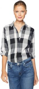 849449a77f2b1 Riders by Lee Indigo Women s Long Sleeve Button Front Buffalo Plaid Shirt  with 2 Pockets
