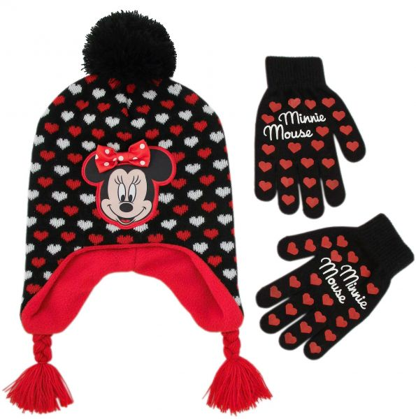 Disney Little Girl s Minnie Mouse Laplander Winter Hat and Gloves ... 92b43581421