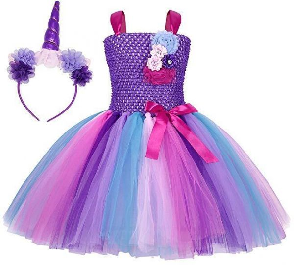 be4e25661177f 3-12 Y Flower Girls Unicorn Tutu Dress Pastel Rainbow Princess Girls ...