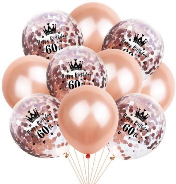 60th Birthday Balloon Decoration Crown Set Romantic Party Package Sequin Rose Gold Latex Bag