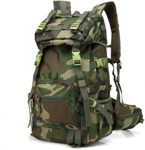 dcb3777d6c Multifunctional outdoor large capacity double backpack Unisex hiking travel backpack  camouflage mountaineering groovy green bag