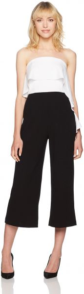 ea227a4379c Donna Morgan Women s Strapless Jumpsuit with Ruffle Top and Cropped Pant