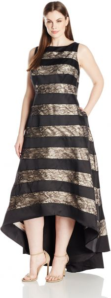 8837be8508 Adrianna Papell Women s Plus Size Sleevless Striped Lace and Mikado ...