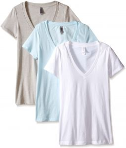 f15894658afa Clementine Women's Deep V-Neck Tee, Ice Blue/Silk/White, X-Large (Pack of 3)