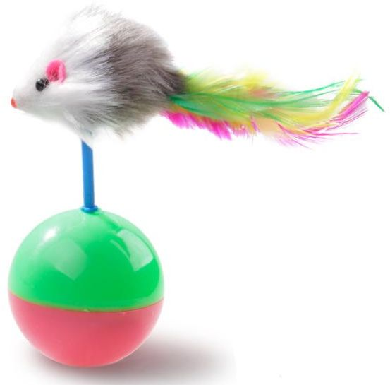 Tumbler Ball Rustle Activity Creative Toy Cat Toys Ball with Catnip Feather Mouse 2pack