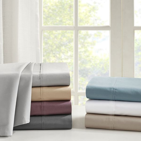 Madison Park 600 Thread Count King Bed Sheets Casual 100 Cotton Sheet Light Grey Set 4 Piece Include Flat Ed 2