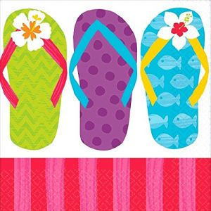 410c0db741f8a Amscan 701616 Sun-Sational Summer Luau Party Colorful Flip Flops Beverage  Napkins Tableware