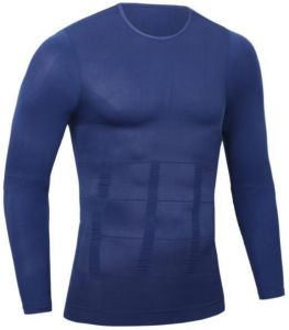 87c6535dbf58 Slimming Body Shaper Long Sleeves Top Abs Abdomen Slim Compression Muscle  Tank Bodysuit Tight Bodysuit Tops for Men Blue