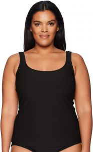 f37390dc4ab Maxine Of Hollywood Women s Plus Size Solid Scoop Neck Tankini Swimsuit  Top