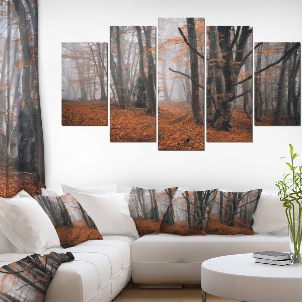 Design Art Large Fall Trees with Fallen Leaves Landscape