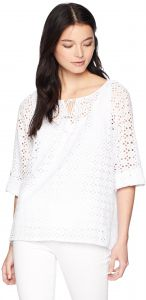 819ea0d61618c2 Ruby Rd. Women's Petite Lined Eyelet Peasant Blouse with Roll-Tab Sleeves,  Soft White, PET Small