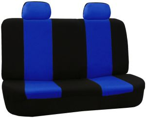 Swell Fh Group Fb050Blue012 Blue Fabric Bench Car Seat Cover With 2 Headrests Caraccident5 Cool Chair Designs And Ideas Caraccident5Info