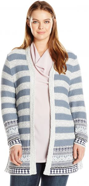 29fb12add497f Lucky Brand Women s Plus Size Geo Border Cardigan Sweater