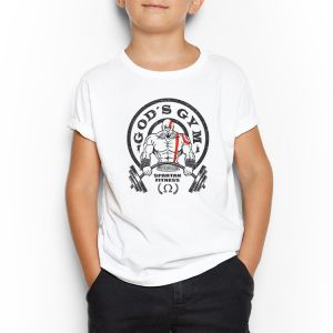 a85fbbb02 gods gym White Round Neck T-Shirt For Kids 3 - 4 Years
