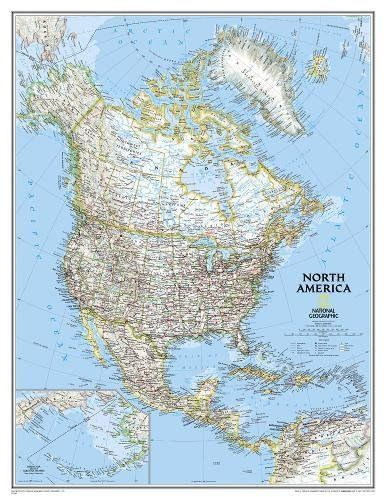 National Geographic North America Classic Enlarged Wall Map 35 75