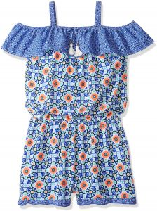 5ac4f43b2e50 My Michelle Big Girls  Printed Cold Shoulder Romper With Ruffle Details