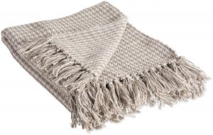 5e2a10eeb1 DII Rustic Farmhouse Cotton Houndstooth Blanket Throw with Fringe for  Chair