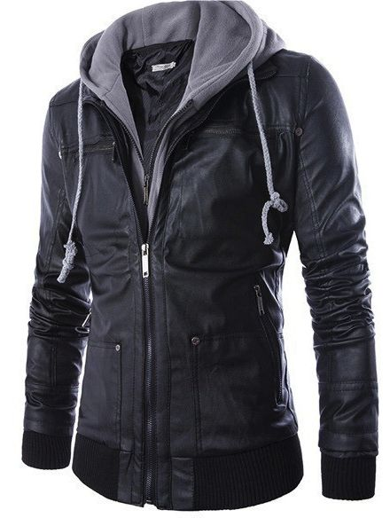 62f03b475a88 Fashion European and American style men s slim hooded fake two-piece men s  motorcycle leather jacket