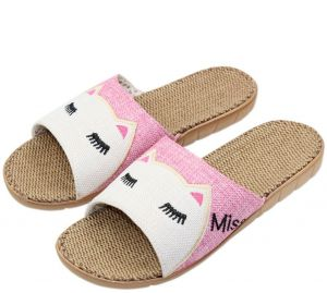 87a3b321130 Better-Look Anti-slip Summer Indoor Slippers - Flax Linen Home Shoes  Breathable Casual Floor Slippers For Girls Women