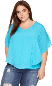 947083aa73988 AGB Women s Plus Size Knit Popover Top with Shoulder Detail