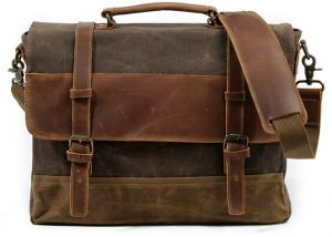 e3a871b3f6e9 Mens Messenger Bag Waterproof Canvas Leather Computer Laptop Bag Briefcase Case  Vintage Retro Waxed Canvas Genuine Leather Large Satchel Shoulder Bag ...