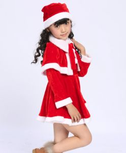 Girls Long Sleeve Fleece Christmas Santa Claus Costumes Party Outfit Fancy  Dress with Shawl Hat Set for 100cm Height Baby 5bca5c7c1823e
