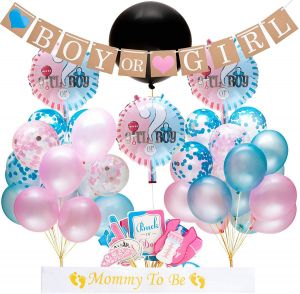 Gender Reveal Party Supplies And Baby Shower Boy Or Girl Kit 64 Pieces