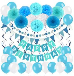 Birthday Decoration Set Zerodeco Happy Banner Bunting With 4 Paper Fans Tissue 6 Pom Poms Flower 10 Hanging Swirl And 20 Balloon For
