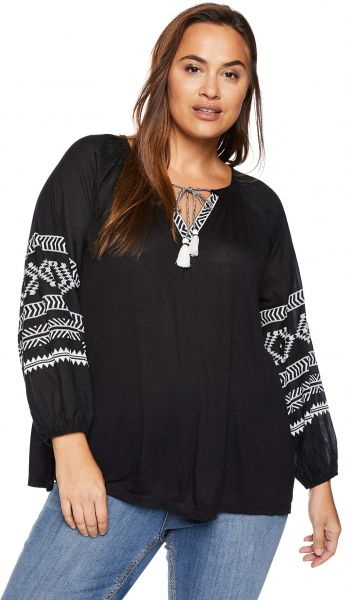 a9cc7343075 Lucky Brand Women s Plus Size Embroidered Print Peasant TOP