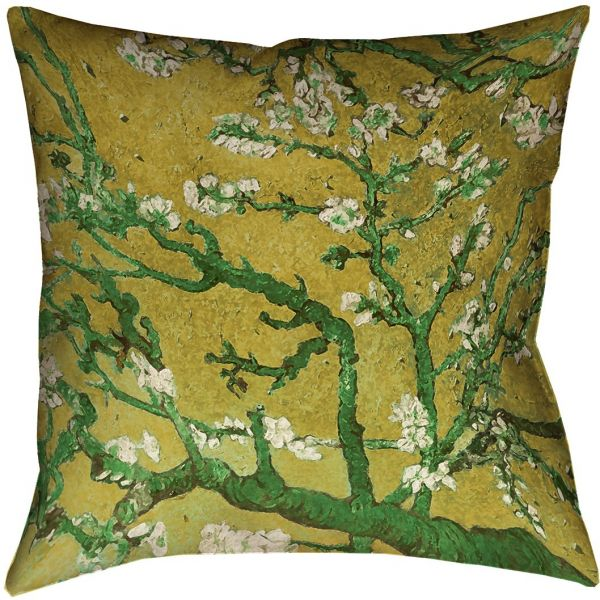 Artverse Vincent Van Gogh Almond Blossom In Yellow And Green Pillow Poly Twill Double Sided Print With Concealed Zipper Insert 16 X Souq Uae