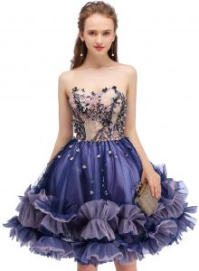 4ef259e734 SSYFashion Strapless Short Cocktail Dress for Women Purple Lace A-line  Party Formal Evening Gown Size 6